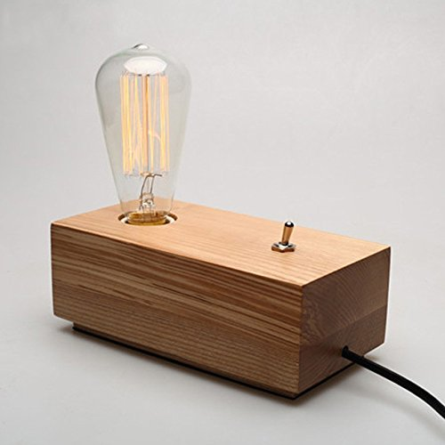 New Decor Nova Modern retro industrial style personality handmade wooden base cube table lamp Edison bulb art lighting decorative lighting Fixture(rectangle)