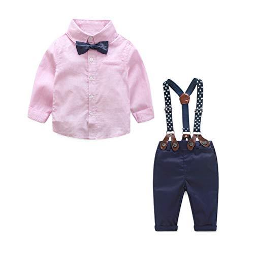 Odziezet Baby Jungen Bekleidung Set Hemd Hose mit Hosenträger Langarm Karierte Hemd mit Fliege Latzhosen 3-36 Monate