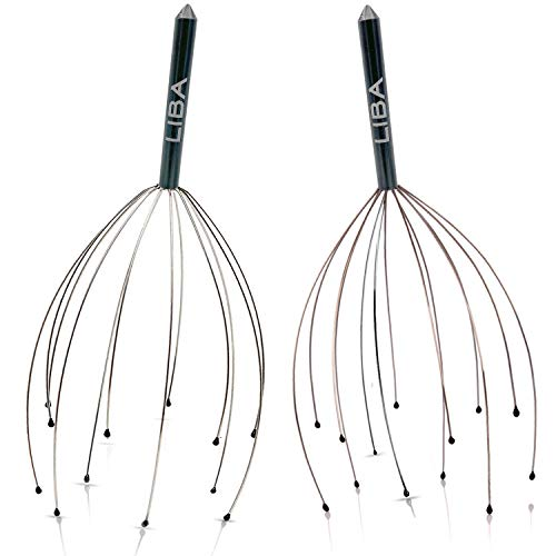 Scalp Massager Tool (2-Pack) for a Rejuvenating Head Hair Scratcher Massage by LiBa. No Painful Scratches, Tangling, or Hair Pulling Wires w/Gentle Rubber Beads (Black, 12 Wire)