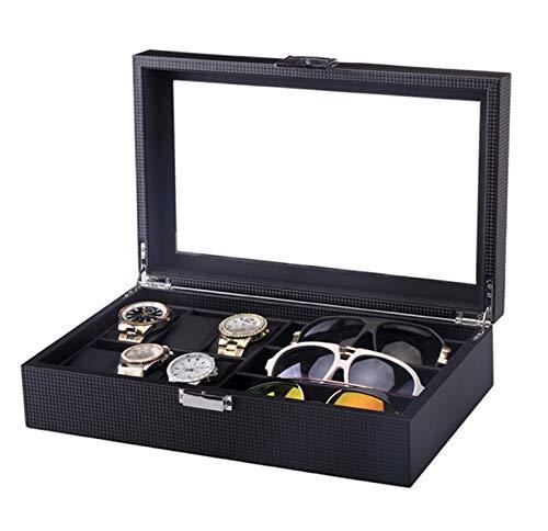 LHY HOME Cajas para Relojes Tapa Transparente Multifunción Guarda Relojes para 6 Relojes Y 3 Gafas De Sol,Negro