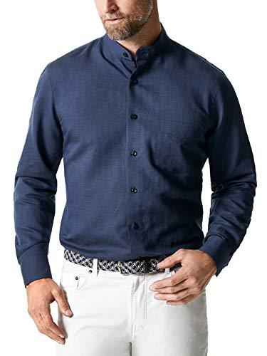 Walbusch Herren Hemd Stehkragen Leinenhemd einfarbig Blau 39/40 - Langarm