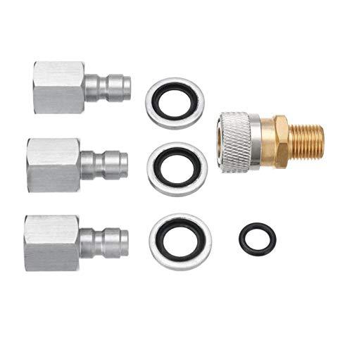 SALATEILY 1/8 Zoll BSP-Schnellwechselkupplung, Luftlade-Schnellwechseladapter, Edelstahl-PCP-Anschlüsse, Ladeadapter-Kit, Für Luftgewehre PCP mit 3-teiligen Steckern