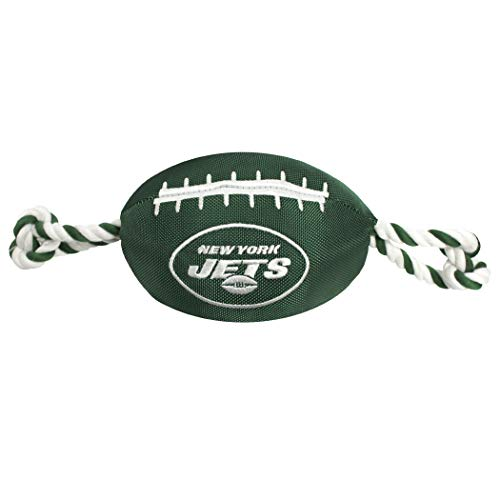 NFL NEW YORK JETS Football Dog Toy, Tough Nylon Quality Materials with Strong Pull Ropes & Inner Squeaker in NFL Team Color. BEST DURABLE PET TOY