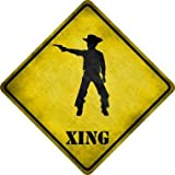 Harvesthouse Cowboy with Pistol Xing Metal Crossing Sign 8x8 Inches Square Sign