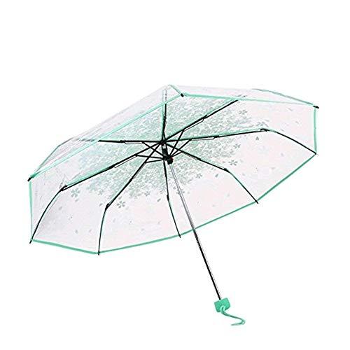 Demarkt–Funda Pantalla Stock Paraguas 3faltender Paraguas Flores de Cerezo Transparente Azul Verde Medium