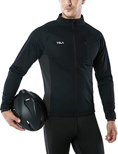 TSLA Men's Winter Cycling Jackets, Cold Weather Workout Running Jacket, Warm Thermal Softshell Bike Windbreaker, Cycling Windproof Jacket(ycj70) - Black, X-Small
