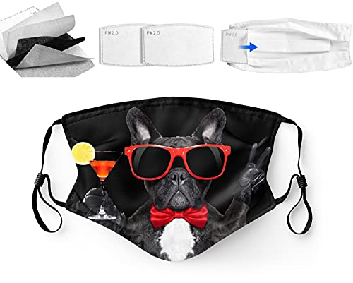 Banquet French Bulldog,Washable Face Mask Balaclava with Adjustable Ear Loops & Nose Wire,3 Ply,100% Polyester Inner Layer,for Men & Women,Cloth Reusable Face Protection,with Filter Pocket,Made in USA