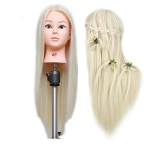 26''Blonde Professionele Styling Hoofd Pruik Hoofd Stand Vrouwen Make-up Kappers Dummy Pop Training Mannequin Hoofd