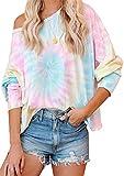 EFOFEI Sudadera para mujer Tie-Dye sin tirantes, de arcoíris, camiseta de manga larga con tinta casual. L-rosa y amarillo. M