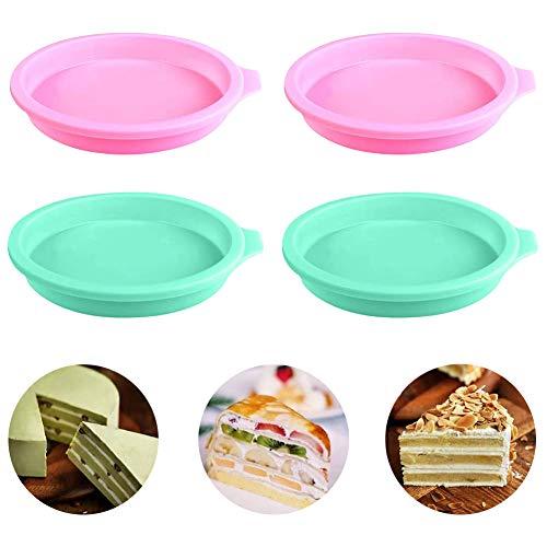 Stampi per torta in silicone 4 pezzi Set di teglie per torta a strati da 4 pollici Stampi...