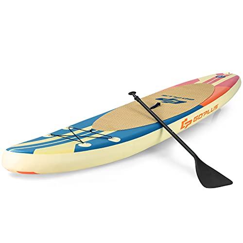 COSTWAY Tabla de Surf Hinchable Tabla de Remo con Incluye Mochila,Bomba,Línea de Seguridad,Aleta Central y Kit de Reparación Surf Stand Up Paddle Board (Beige y Azul, 335x76x15cm)