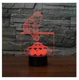 3D billard spielen mann Optische Illusions-Lampen, Tolle 7 Farbwechsel Acryl berühren Tabelle Schreibtisch-Nachtlicht mit USB-Kabel für Kinder Schlafzimmer Geburtstagsgeschenke Geschenk