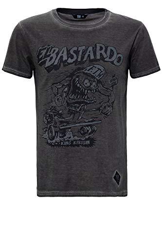King Kerosin Herren Oil Washed Print T-Shirt Used Look EL Bastardo Rundhals Kurzarm Slim Fit EL Bastardo