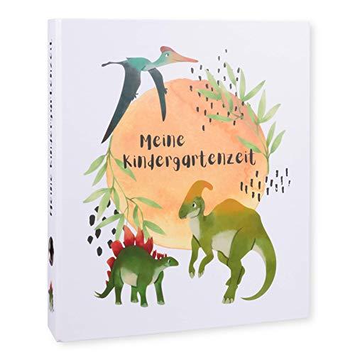 Ordner Portfolio Kindergarten (DIN A4-350 Blatt Breit) - Meine Kindergartenzeit Motivordner - Geschenk zum Kindergartenstart - Kita Ordner - Aktenordner, Fotoalbum für Kinder - Dinosaurier