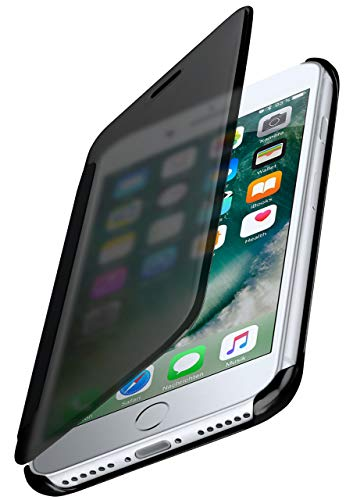 moex Dünne 360° Handyhülle passend für iPhone 7 / iPhone 8   Transparent bei eingeschaltetem Display - in Hochglanz Klavierlack Optik, Anthrazit