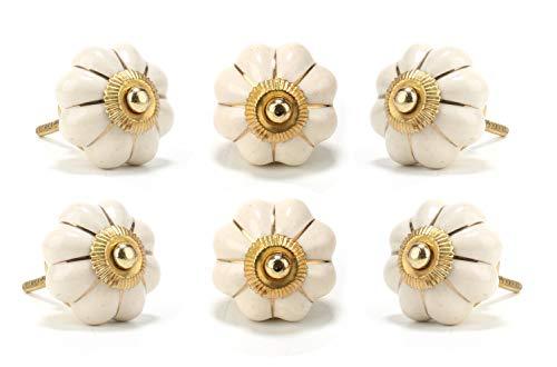 Perilla Home - Juego de 6 pomos de cerámica con diseño de flores, color blanco