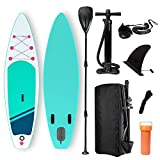 Harsso Tavola da Stand Up Paddle, Surf SUP Paddling Board Gonfiabile, Pagaia Regolabile, Linea di Sicurezza, Zaino 300x80x15cm