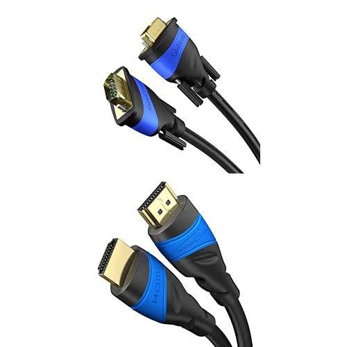 KabelDirekt 3m Cable VGA, 15 Pin, Full HD 1080p, 3D, con núcleos de ferrita, tarjetas gráficas, monitores, TOP Series y 3m Cable HDMI 4K