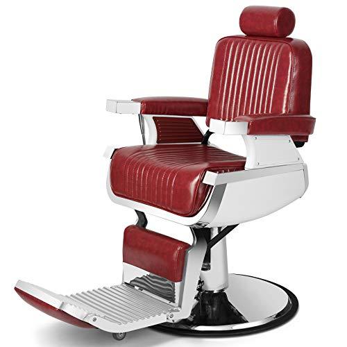 Artist Hand Heavy Duty Hydraulic Recline Barber Chair Salon Chair Barber Chairs for Hair Stylist Tattoo Chair Barber Salon Equipment (Red)