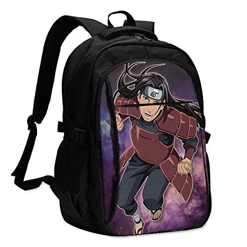 Anime Naruto Zaino da viaggio per computer portatile con porta di ricarica USB Interfaccia per cuffie College Bookbag per donne uomini ragazzi Business Travel Anti Theft Backpack-2, B, L