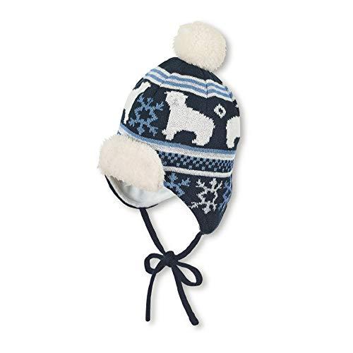 Sterntaler muts voor jongens met pompon en ijsbeer-motief, gevoerd, leeftijd: 6-9 maanden, maat: 45, blauw (marine)