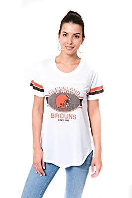 Ultra Game Women's NFL Soft Mesh Jersey Varsity Tee Shirt, Cleveland Browns, White, Small