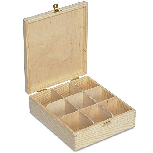 Creative Deco Caja para Te en Bolsitas Madera | 9 Compartimentos | 23,5 x 20,5 x 7,5 cm | Varias Medidas Disponibles | con Tapa y Cerradura | Ideal para Decoupage, Decoracion y Almacenaje