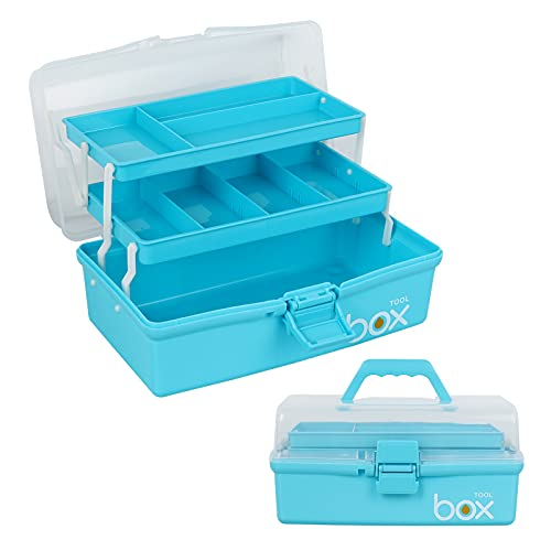 12'' Three-Layer Clear Plastic Storage Box/Tool Box, Multipurpose Organizer and Portable Handled Storage Case for Art Craft and Cosmetic (Blue)
