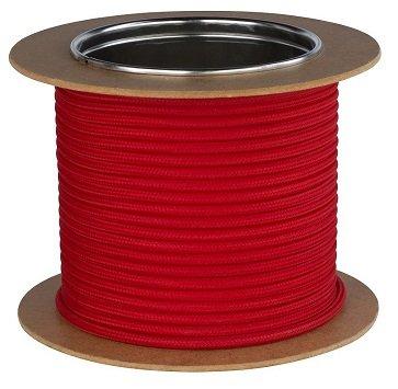 Textilkabel Stromkabel Stoffkabel Lampen-Kabel 2-adrig Pendelleitung (Rot)