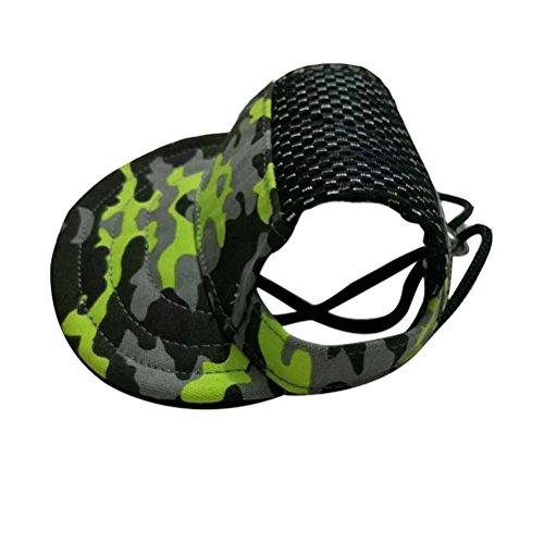 UEETEK Sombrero de Camuflaje para Perros Sombrero de Lona para Mascotas Gorra de béisbol Ajustable Sombrero de Visera con Orificios para los oídos para Perros pequeños Tamaño M
