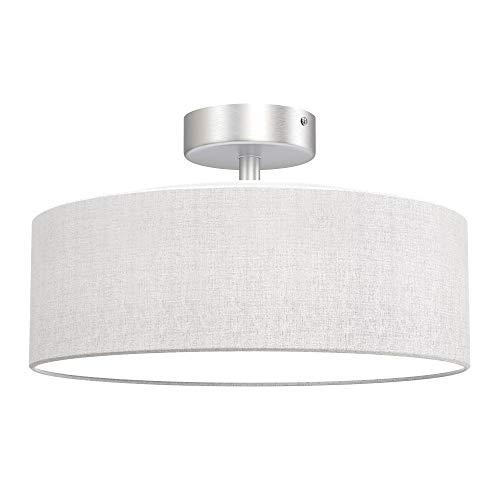 Briloner Leuchten Lámpara de techo, 1 x E27 máx. 40 vatios, pantalla de tela, color satinado, diámetro de 30 cm, W, Blanco/Satin