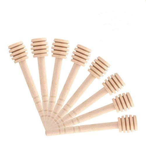 Fdit 50 Pcs/Satz Haushalt Holz Tragbare Mini Marmelade Honig Dipper Jar Dispensing Sammeln Rührstab Stick Mino Dispense Drizzle Honig(10CM)