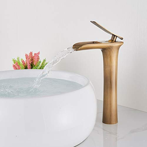 Onyzpily Grifo para lavabo Latón Blanco Cromado Baño Grifo para lavabo Cascada de estilo alto Caño Montaje en cubierta Un solo