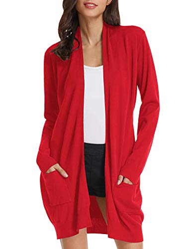 Classic Long Cardigan with Pocket Solid Color Sweater for Junior (L,Red)