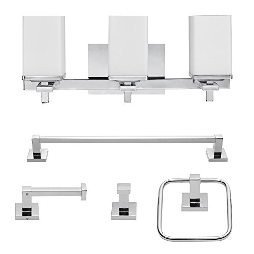 Globe Electric 59221 Finn 5-Piece All-in-One Bath Set, 3-Light Vanity, Bar, Towel Ring, Robe Hook, Toilet Paper Holder, 8.07