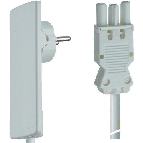 Schulte Elektrotechnik 151000152300 stekkerbare elektrische installatie aansluitkabel 1,5 m met GST 18 bus wit wit