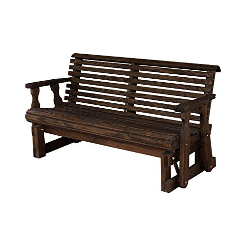 CAF Amish Heavy Duty 800 Lb Roll Back Pressure Treated Porch Glider (4 Foot, Semi-Solid Black Stain)