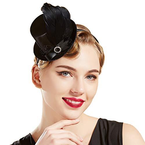 Coucoland Damen Mini Top Hut Feder Zylinder Hut Haarreif Haarspangen Dual Use Englische Tee Party Hut Flapper Zubehör Damen Fasching Kostüm Accessoires (Schwarz)