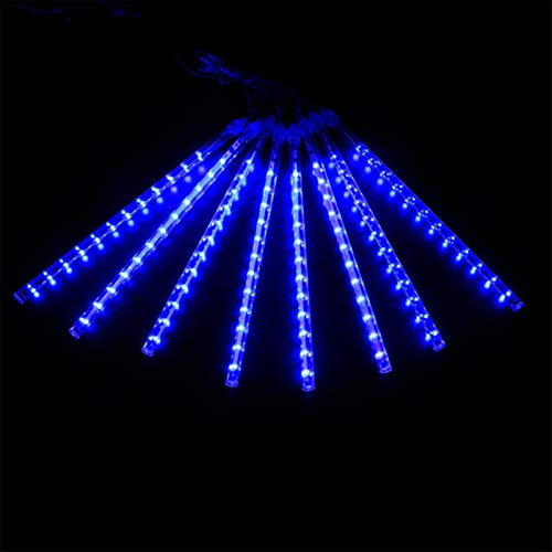 kengbi Christmas Indoor and Outdoor Tree Room DecorLigh 50CM Meteor Shower Rain 8 Tube Waterproof LED String Lights Outdoor Christmas Wedding Party Decoration Lamp (Emitting Color : Blue 30cm)