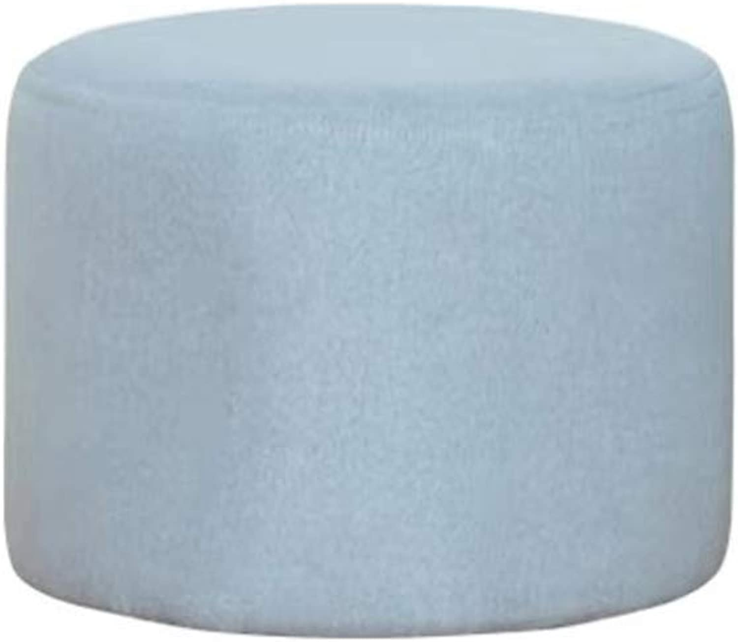 Storage Stool Footstool Round Pouffe Chair Concealed Pulley Upholstered Footchair Movable Stool Couch Home Footstool LEBAO (color   Light bluee)