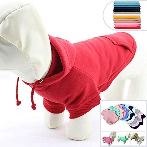 lovelonglong Blank Basic Hoodie für Hunde, 100% Baumwolle, 12 Farben, 11 Größen passend für kleine mittelgroße Dackel große Hunde, D-L, rot