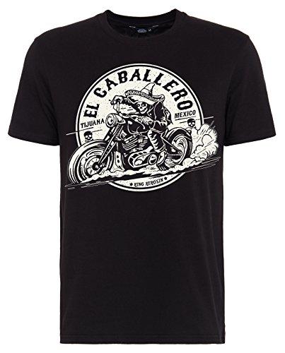 King Kerosin Herren T-Shirt EL Caballero Print Rundhals Kurzarm Regular Fit EL Caballero