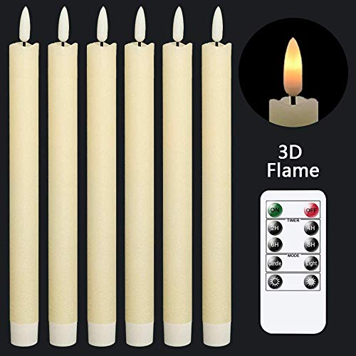 GenSwin Taper Flameless Candles Flickering with 10-Key Remote, Battery Operated Led Warm 3D Wick Light Window Candles Real Wax Pack of 6, Christmas Home Wedding Decor(Ivory, 0.78 X 9.64 Inch)