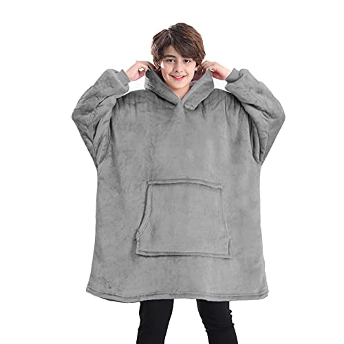 Lushforest Decke Hoodie für Kinder, Oversized Hoodie Sweatshirt Decke, Super Soft Fleece Morgenmantel, Warm Bequem Kapuzenmantel, Geschenke für Gamer Jungen Mädchen Teens (grau)