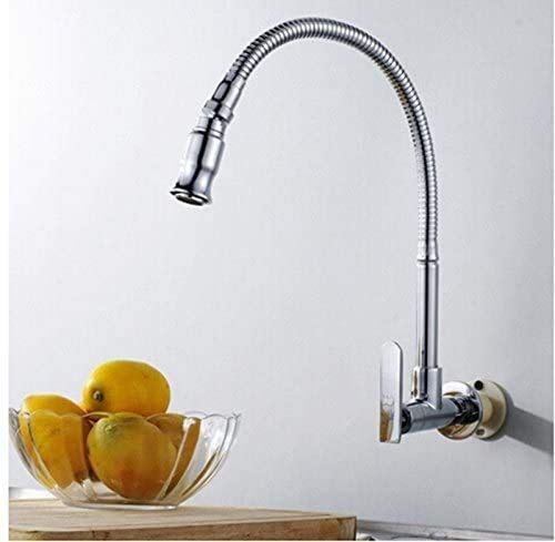 Kitchen Sink Faucet Wall Mounted Flexible Rotatable Single Lever Stainless Steel Kitchen Tap Ktichen Faucet Chrome Finished