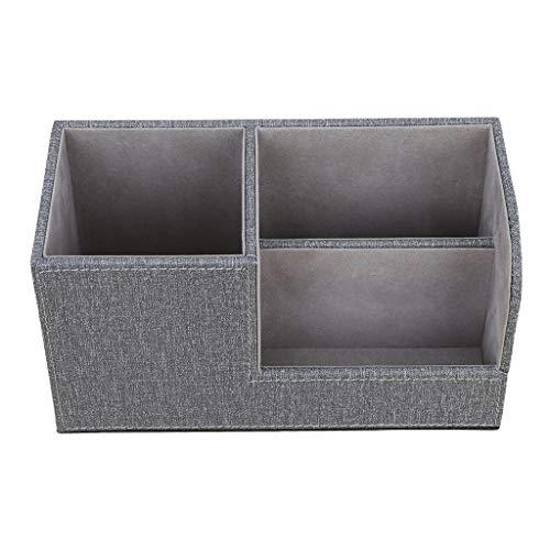 perfk Portalápices de Cuero de PU con Caja de Almacenamiento de Escritorio de 3 Compartimentos - Beige - gris