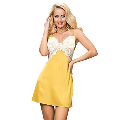 FAYHRH Conjuntos de Lencería Mujer Encaje Atractivo,Pijamas de Mujer de Gran tamaño, Encaje para el hogar, Tirantes con Costuras Ajustables camisón-Amarillo_XXX-Large_
