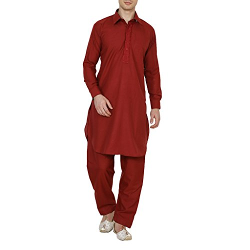 Kurta Royal Men's Traditional Neck Thread Embroidered Blended Pathani Suit With Classic Collar