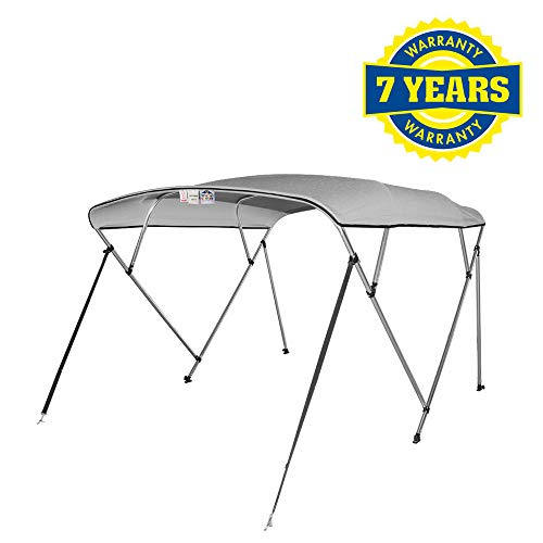 "4 Seasons Bimini Top Boat Cover 4 Bow 8 ft. Long (54"" H 91"" - 96"" W 8 ft, Gray)"