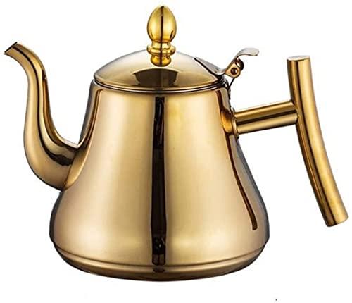 Cafetera de té de té de Acero Inoxidable con colador, Adecuado for Estufa Top, Restaurante (Color : Oro, Size : 1L)